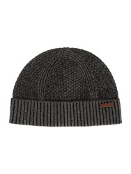 Ted Baker Ozzy Rib And Wafle Knitted Hat Grey Marl