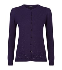 Harrods Of London Scattered Crystal Cashmere Cardigan Female Purple
