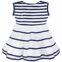 Chateau De Sable French Designer Nautical Ballerina Dress Navy Blue