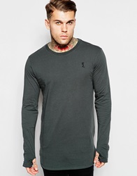 Religion Longline Long Sleeve Top Charcoal