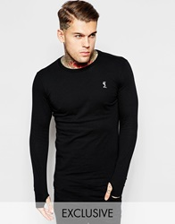 Religion Longline Long Sleeve Top Black