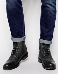 Asos Workboots In Black Leather With Faux Shearling Lining
