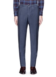 Boglioli Woven Virgin Wool Silk Pants Blue