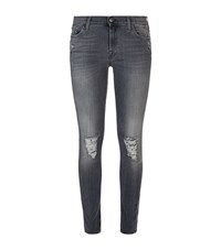 7 For All Mankind The Skinny Slim Illusion Distressed Jeans Female Light Grey