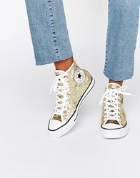 Converse Gold Sequin Chuck Taylor Hi Top Trainers Gold