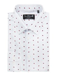 New And Lingwood Hadleigh Stripe Ladybird Print Shirt White