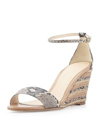 Python And Leather Demi Wedge Sandal Alexandre Birman Neutral