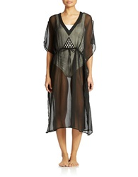 Sol And Mer Sheer Kaftan Coverup Black