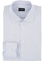 Ermenegildo Zegna Men's Rossini Cotton Dress Shirt White Navy White Navy