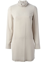 Brunello Cucinelli Long Cowl Neck Blouse Nude And Neutrals