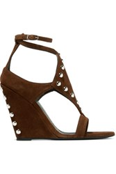 Giuseppe Zanotti Studded Suede Wedge Sandals Chocolate