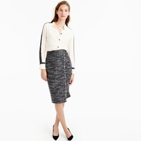 J.Crew Petite Faux Wrap Pencil Skirt In Metallic Tweed