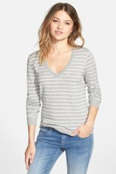Bp Stripe V Neck Pullover Juniors Gray