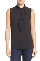 Vince Camuto Women's Ruffled Tie Neck Sleeveless Blouse Rich Black