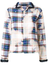 Akiko Aoki Stain Effect Plaid Shirt White