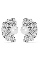 Kenneth Jay Lane Silver Tone Crystal And Faux Pearl Clip Earrings Unknown