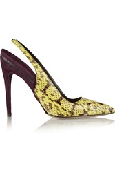 Daniele Michetti Elaphe And Suede Pumps Yellow
