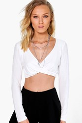 Boohoo Twist Front Long Sleeve Crop Cream