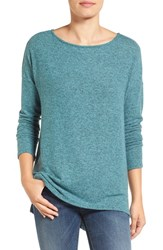 Gibson Women's Ballet Neck High Low Pullover Heather Light Teal