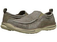 Skechers Relaxed Fit Elected Drigo Taupe Canvas Men's Slip On Shoes