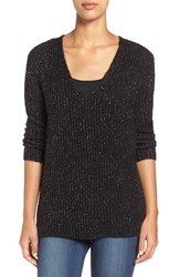 Women's Two By Vince Camuto Metallic Flecked V Neck Sweater