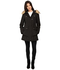 Jessica Simpson Snorkle Anorak W Faux Fur Black Women's Coat