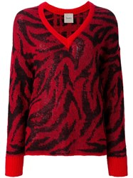 Nude Animal Print V Neck Pullover Red