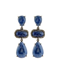 Bavna Sapphire And Champagne Diamond Triple Drop Earrings Women's