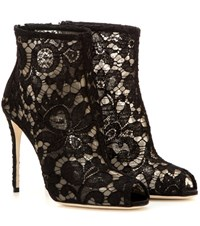 Dolce And Gabbana Lace Open Toe Ankle Boots Black