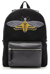 Alexander Mcqueen Suede And Leather Backpack With Embroidered Motif Black