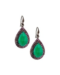 Bavna Green Onyx Pink Tourmaline And Champagne Diamond Drop Earrings