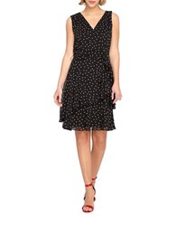 Tahari By Arthur S. Levine Polka Dot Fit And Flare Ruffle Dress Black White