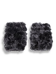 Jocelyn Rabbit Fur Fingerless Gloves Black