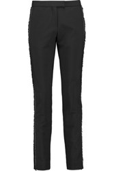Maje Fringed Crepe Skinny Pants Black