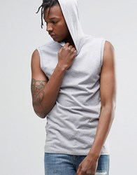 Asos Muscle Sleeveless T Shirt With Hood In Gray Gray