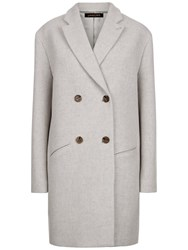 Jaeger Double Breasted Coat Grey Melange Ivory