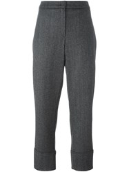 Odeeh Cropped Tailored Trousers Grey
