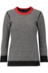 Halston Heritage Striped Wool Blend Sweater Gray