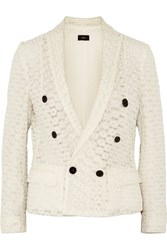 Joseph Embroidered Silk Tulle Blazer White