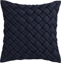 Cb2 Jersey Interknit Navy 20'' Pillow With Feather Insert