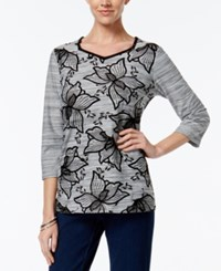 Alfred Dunner Floral Print Beaded Top Only At Macy's Black