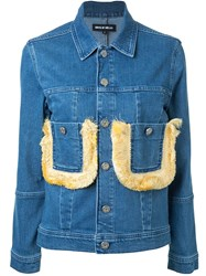 House Of Holland Fringed Pocket Denim Jacket Blue