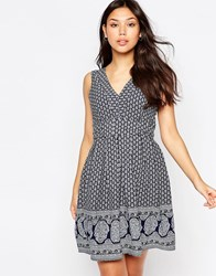 Yumi Tie Dress In Border Print Navy