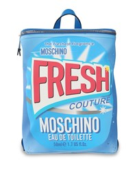 Fresh Couture' Packaging Printed Pvc Backpack Light Blue Moschino
