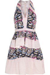 Peter Pilotto Circuit Embroidered Cloque Mini Dress Baby Pink