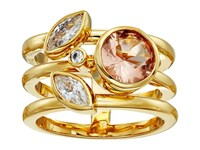 Cole Haan Round Stone Side Cluster Ring Gold Light Peach Crystal Ring