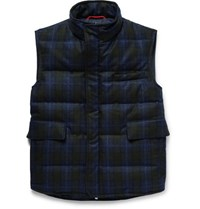 Isaia Water Resistant Checked Wool Down Gilet Navy