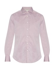 Brunello Cucinelli Spread Collar Cotton Pique Shirt Light Pink