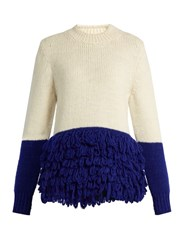 Delpozo Fringed Alpaca Blend Chunky Knit Sweater Cream Multi