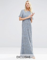Needle And Thread Linear Flower Maxi Dress Mid Blue
